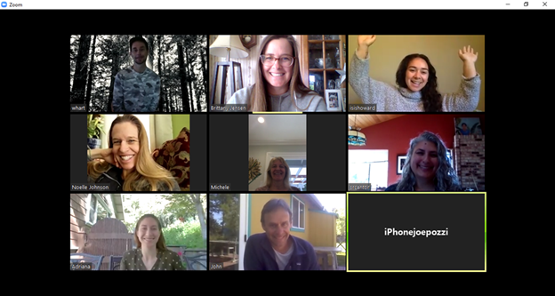 Snapshot of 9 faces during zoom meeting
