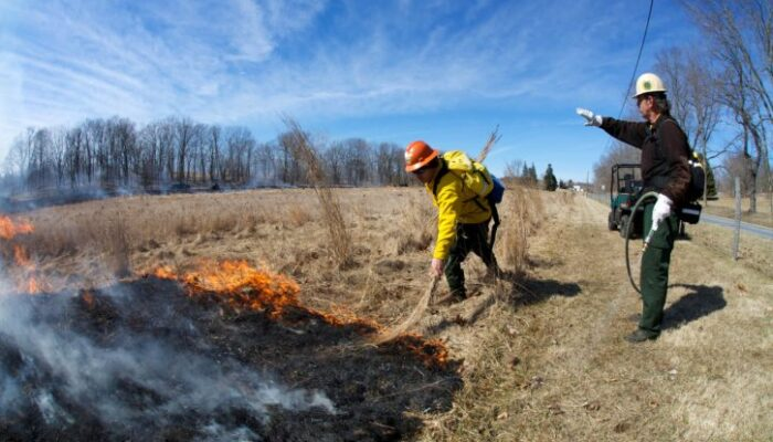 two people with protective equipment one setting prescribed burn